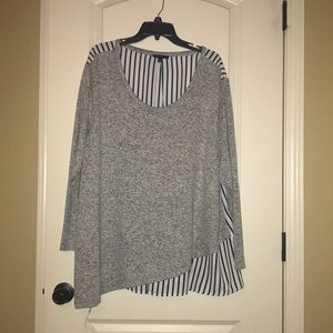 Lane Bryant swing top with lined navy stripe